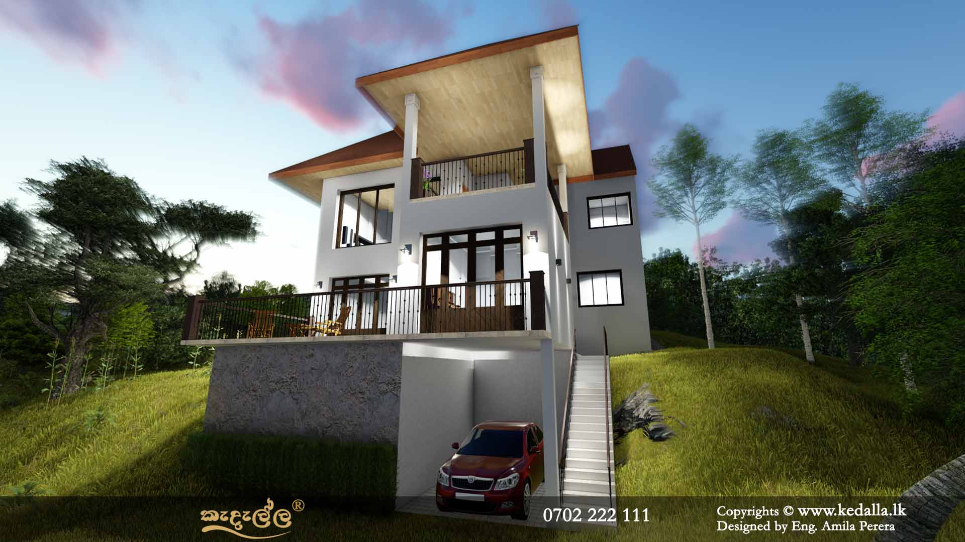 4 Bedroom Three Story House Plans in Sri Lanka - Designed by house designers in Kandy