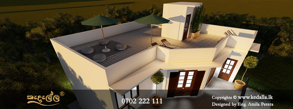 Chartered Architect designed 4 Bedroom Two Story Tarrace House Plans for a flat land in Nuwaraeliya Sri Lanka