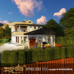 Modern contemporary four bedroom home plan with parapet Wall designed by Architect in Kandy Sri Lanka
