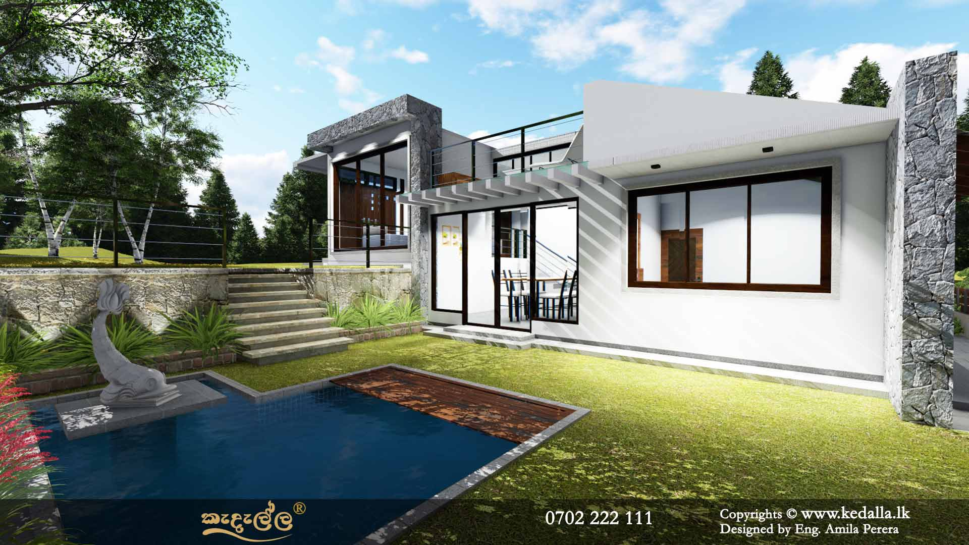 Beautifull Single Story House Plan with Swimming pool designed by building designers in kandy Sri Lanka
