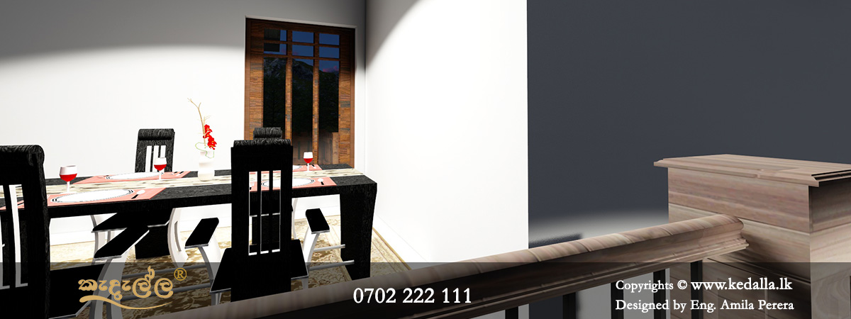Dinning Room of a modern single story house plan in Sri Lanka