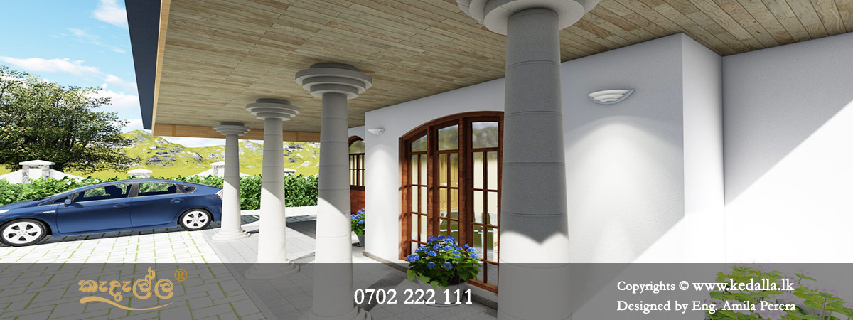 Open varandha of single story house designed by chartered architect in Sri Lanka