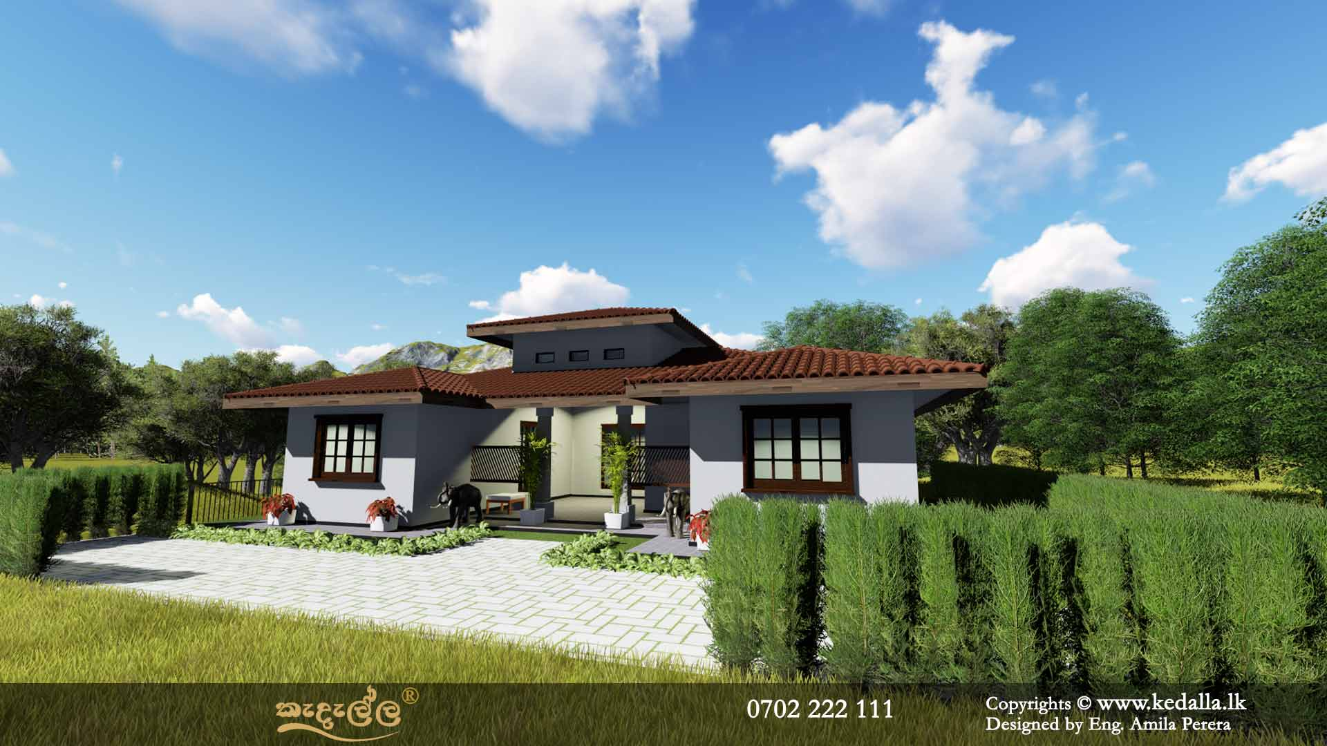 Single Story traditional Home Plans designed by house designers Kandy Sri Lanka