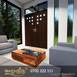 Living Room of a modern single story small house plan in Kandy Sri Lanka