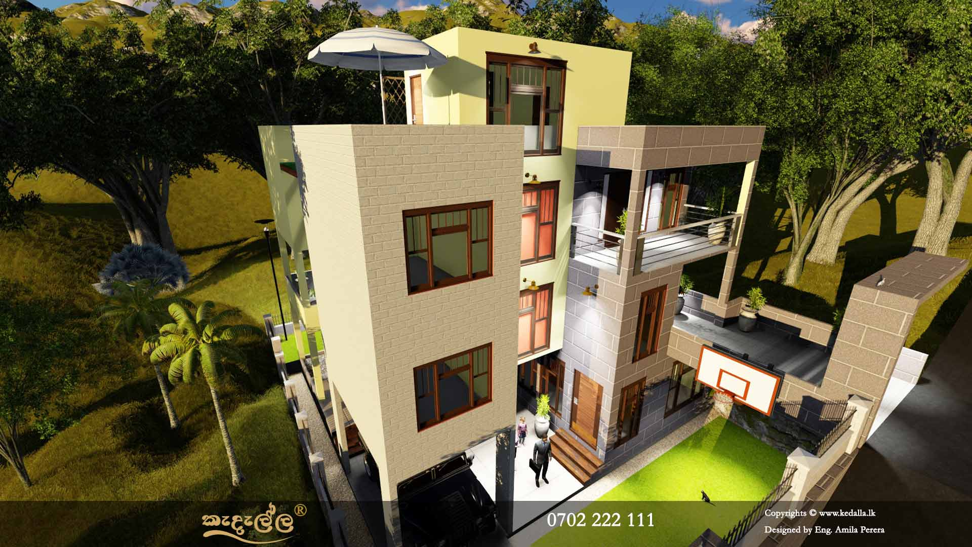 Modern three Story House Plans with large roof terrace and stair case room in Sri Lanka
