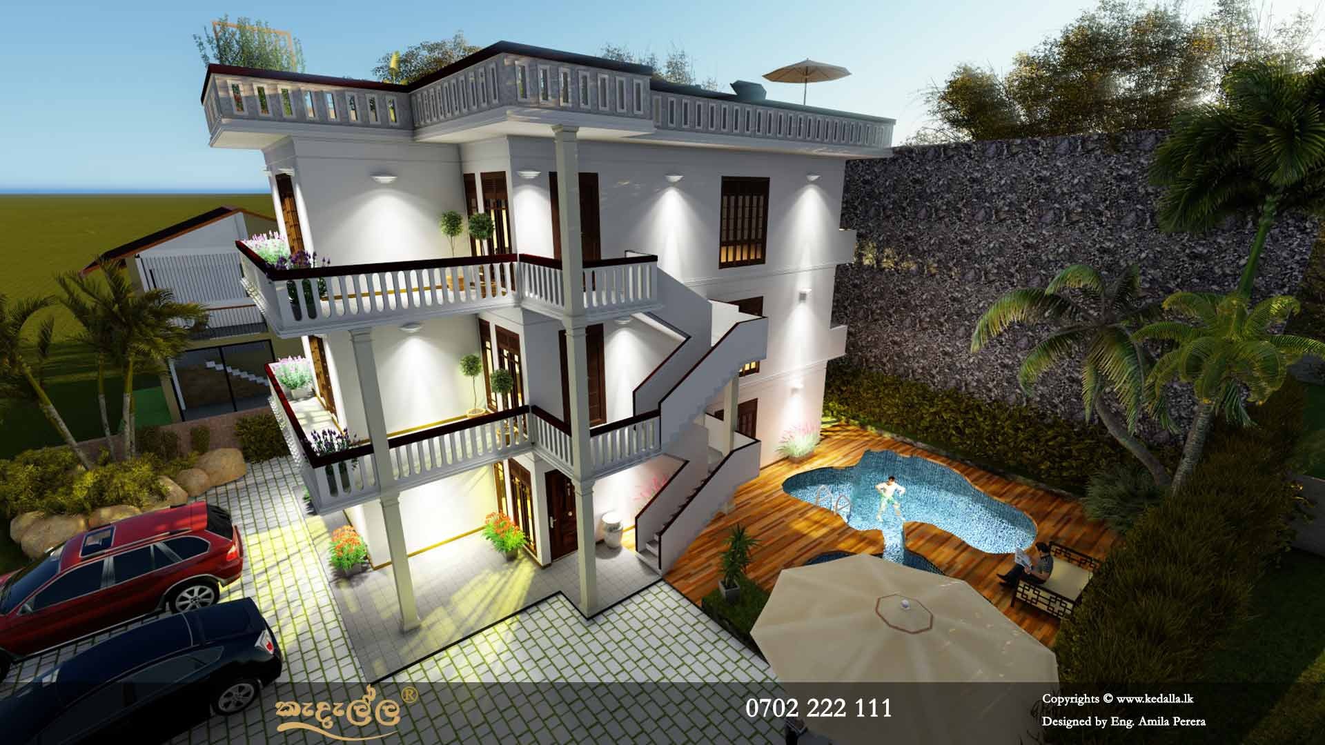 Three Story House Plans in Sri Lanka with curved shape mini swimming pool at ground level