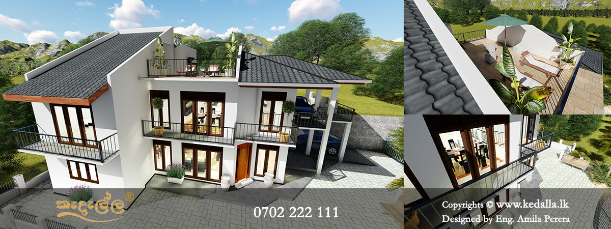 A hillside two story house plan that features two car porches at lower ground floor and ground floor