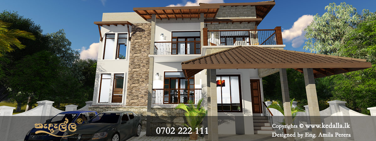 Two storey residential house floor plans with elevation designed by architects in Kandy Sri lanka
