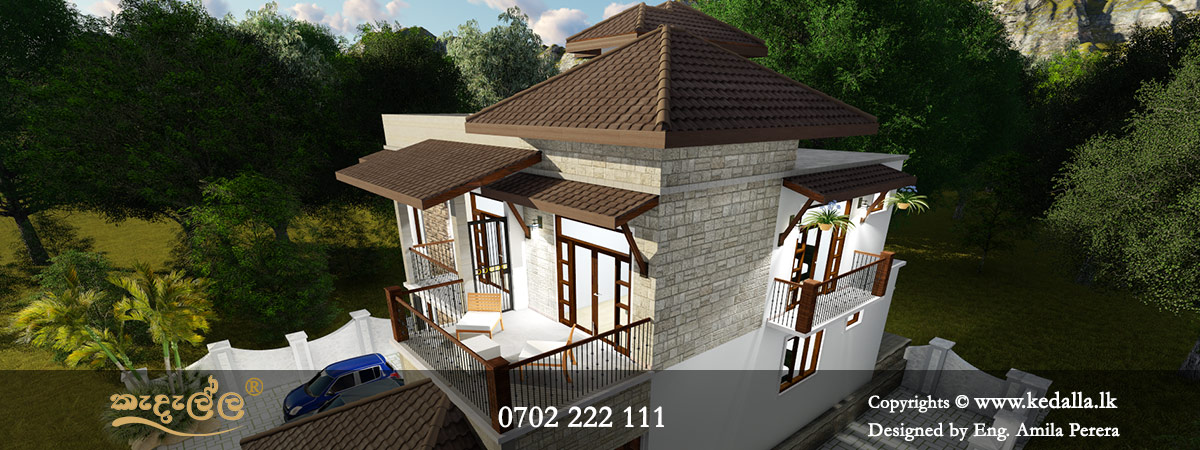 Two story house designs with classy and dramatic composition of wooden windows in colombo Sri Lanka